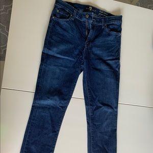 Skinny, high waisted dark denim jeans